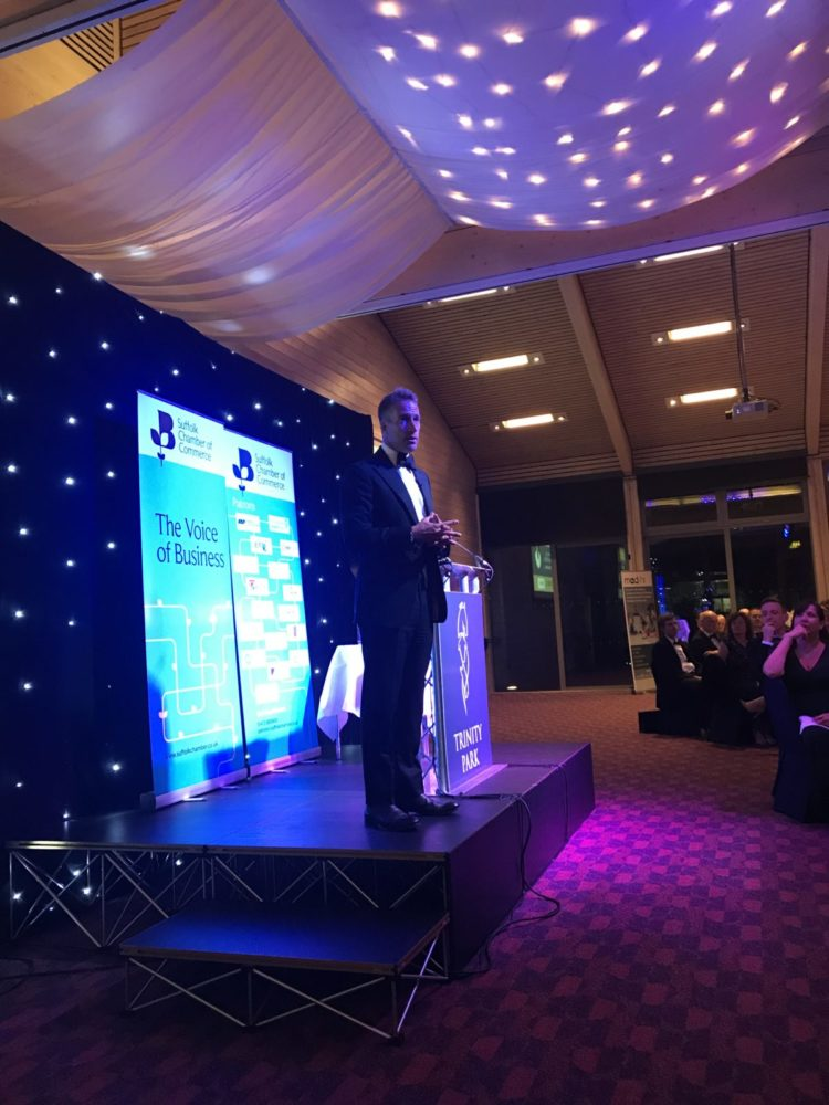 Ben Fogle speaking at the Suffolk Chamber Prestige Dinner where MAD-HR raised over £1600 for charity